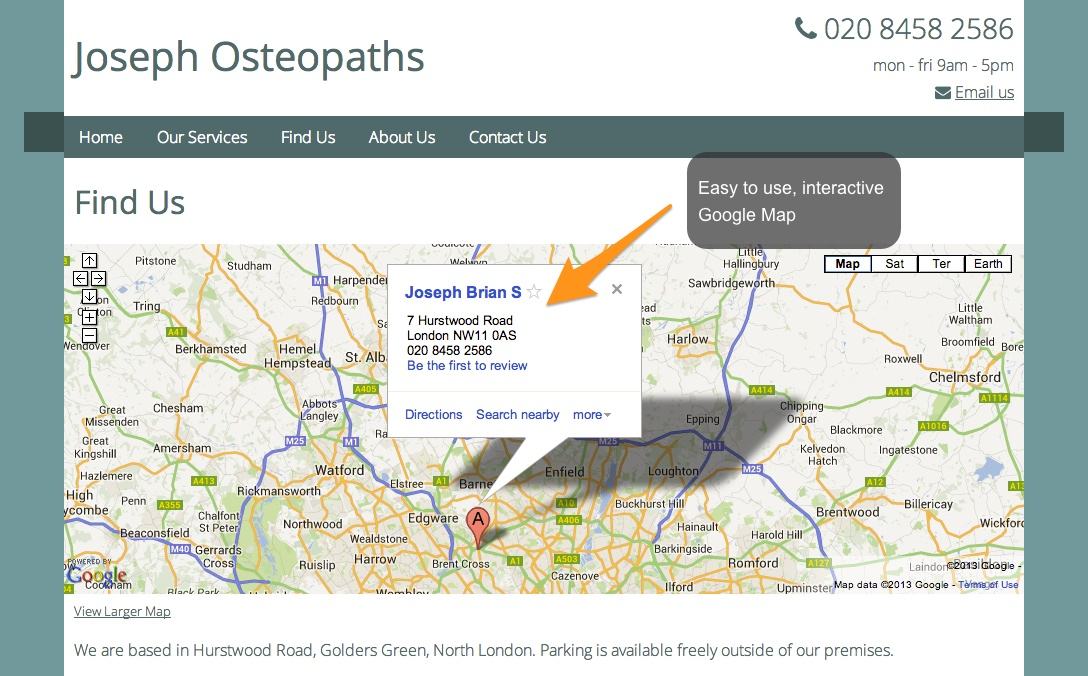 Joseph Osteopaths Screenshot 2